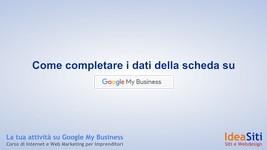 ome Inserire i dati nella scheda di Google My Business