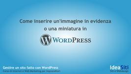 Wordpress come inserire un'immagine-in-evidenza