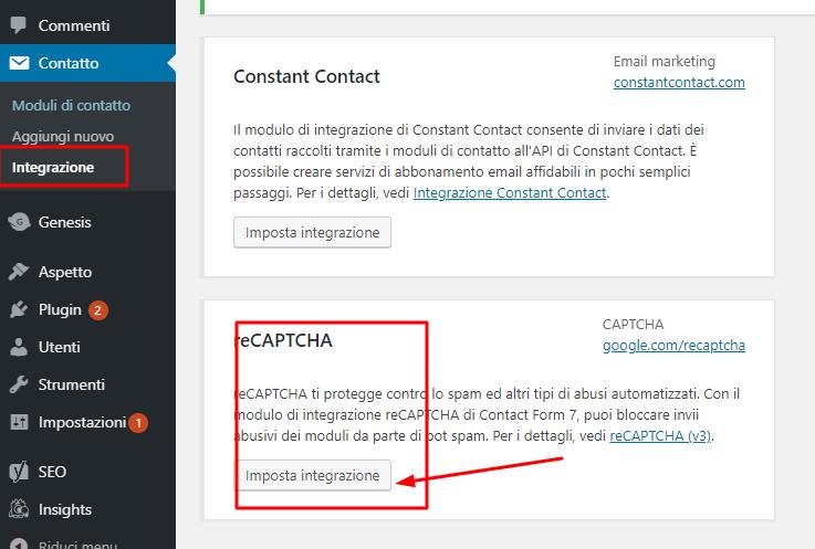 imposta-chiavi-recapcha in Contact Form 7