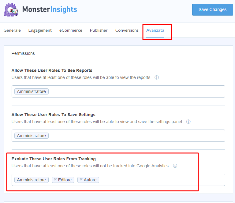 escludi ruoli-google-analytics-monster