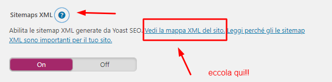 dove trovare il link alla sitemap su Yoast Seo